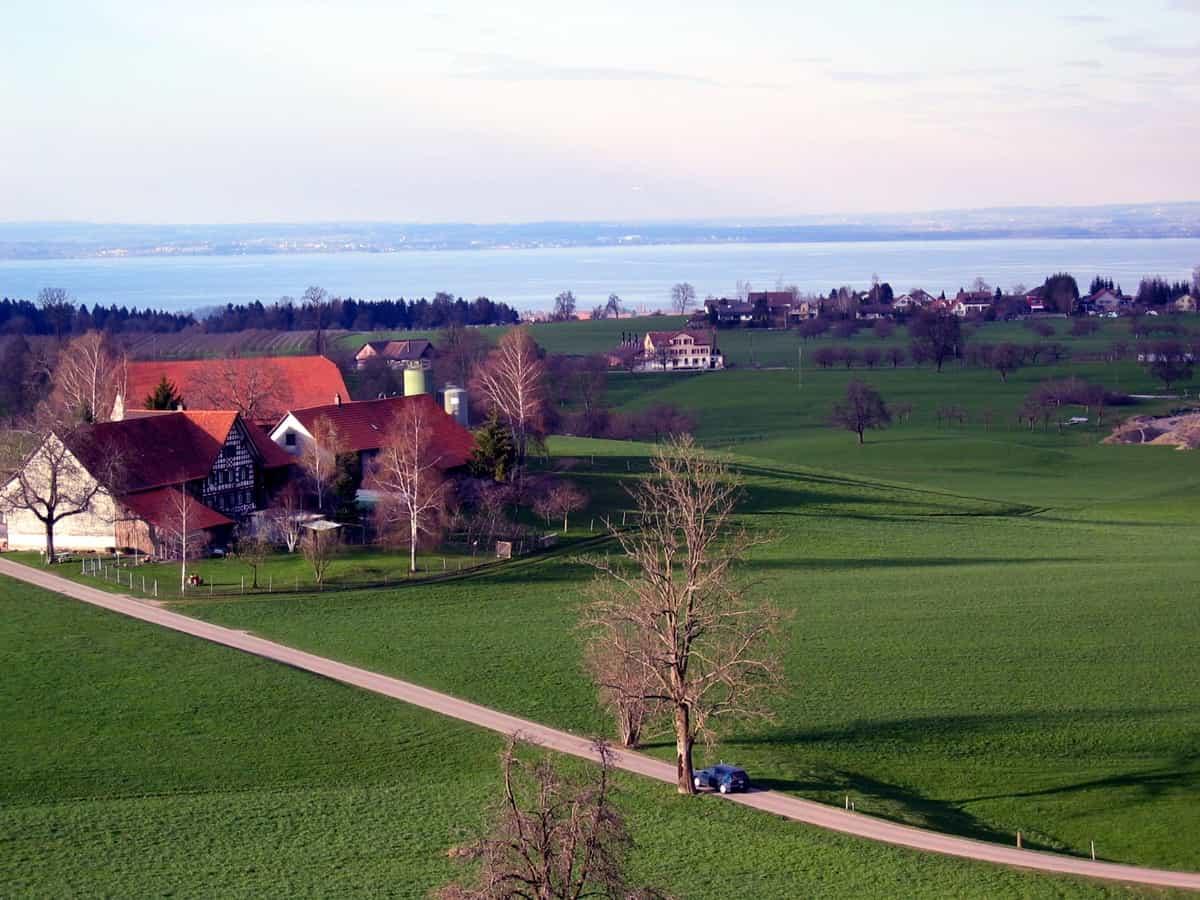 Aussicht vom Schloss Dottenwil Richtung Norden (Bodensee)