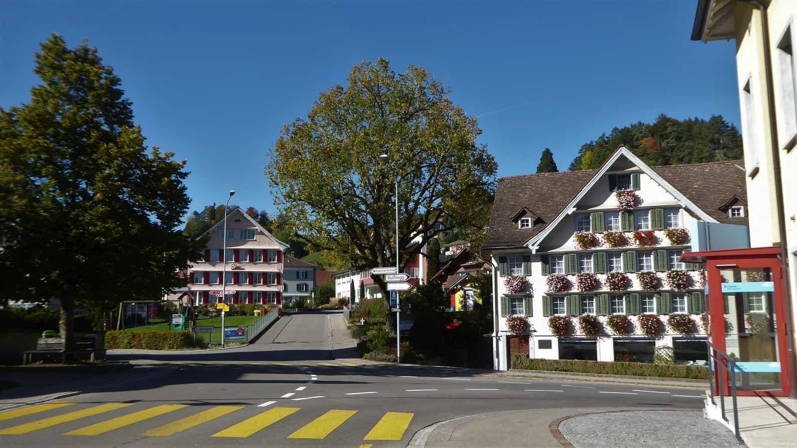 Lindenplatz Mosnang mit Lindenbau mit Laden «Schererei» im Hintergrund.